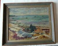 TURE BOSIN POST-IMPRESSIONNISTE SUEDOIS HUILE PAYSAGE MARIN AUX BARQUES 1936