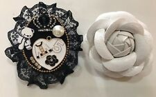 Tweed Pin Brooch Heart Flower Brooches Set New