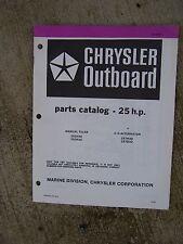 1982 Chrysler 25 HP Outboard Motor Parts Catalog Manual Tiller C-D Alternator  V