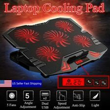 12-17'' Notebook Cooling Pad 5 LED Fans Touch Cooler Stand Gaming Laptop