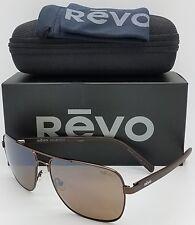 NEW Revo Peak sunglasses RE 5022 00 BR Matte Brown Polarized Square Wire RE5022