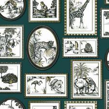 SAFARI Cadres Papier peint vert/doré - Holden 90070 éléphant lion