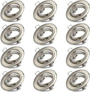 12x Einbaustrahler GU10 Set – Einbaurahmen in Edelstahl gebürstet Optik
