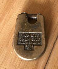 VINTAGE ANTIQUE BRASS VICTORIAN  PADLOCK WORMALD SHEFFIELD (F6)