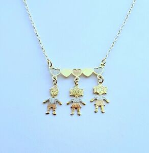 3 girls-kids-boys-niños mothers day Christmas gift children necklace gold plated
