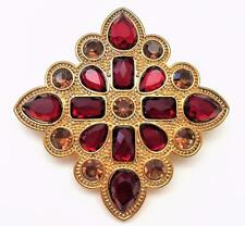 "Beautiful Vintage Brooch ~ Large Faceted Dark Red & Tan Stones 2"" Diamond Shape"