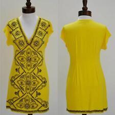 Hale Bob Dress XS 2 4 Yellow Stretch Silk NWT Shift Sundress Embellished $308