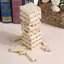 Wooden Stacked Model Tower Building Blocks Kids Educational Game Toys With Dice