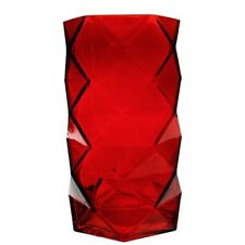 """Red Geometric Faceted Gem Glass Table Prism Honeycomb Vase H-7.5"""" Open-3.75"""""""