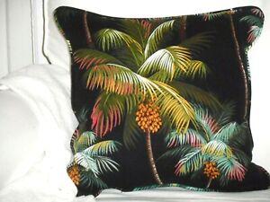 Hawaiian Tropical 100% Cotton Barkcloth Fabric CORDED PILLOW ~Palm Trees-Black~
