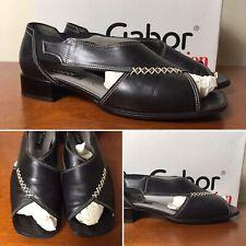 Gabor UK 5 EU 38 Black Leather Cut Away Block Heel Sandals - VGC