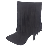 Womens Ladies Black Faux Suede High Heel Shoes Ankle Boots Size UK 3 4 8 New