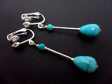 Plated Clip On Teardrop Earrings. New. A Pair Of Turquoise Blue Silver