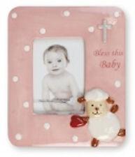 "Baby Girl Christening Baptism Pink Porcelain Photo Picture Frame 4 3/4"" x 5 3/4"""