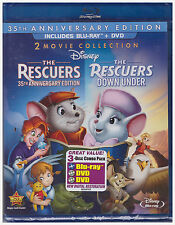 DISNEYS RESCUERS 35TH ANNIVERSARY EDITION/RESCUERS DOWN UNDER (Blu-ray/DVD) NEW