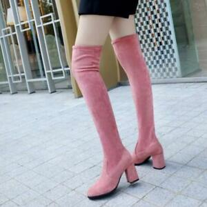Womens Stretch Boots Long Faux Suede Chunky High Heel Strap Shoes Over Knee Boot