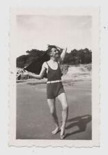 PHOTO Portrait Homme Man 1930 Beau Maillot de bain Plage Rire Drôle Une pièce