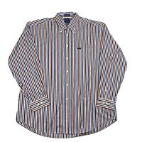 Faconnable Mens Adult 2XL Multicolor Striped Button Down Long Sleeve Shirt