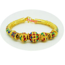 Yellow Gold Plated Gp Jewelry Bangle Bracelet Lai Thai Enamel 22K 24K Thai Baht