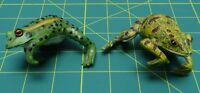"Set of Two Vintage Porcelain Green and Yellow Frog Figurines 3"" X 2-1/4"" X 2"""
