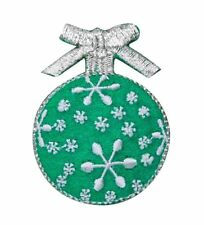 Christmas Ball Ornament - Green/White - Iron on Applique/Embroidered Patch