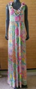 LILLY PULITZER Leena Maxi Dress Fiesta Bamba Tropical Multicolor S Small