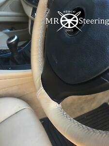 BEIGE LEATHER STEERING WHEEL COVER FITS 05-10 VW PASSAT B6 WHITE DOUBLE STITCH