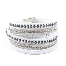 Leather Double Wrap Crystal Cuff Bracelet White