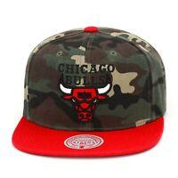 Mitchell & Ness Chicago Bulls Snapback Hat Cap Camo/Red