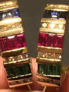 3.00 Ct Emerald Ruby Sapphire Diamond Omega Clip Earrings 14k Yellow Gold Finish