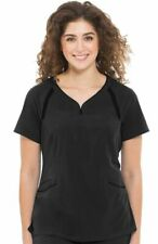 "Healing Hands Performance #2311 V-Neck Detailed Scrub Top in ""BLACK"", Size 2XL"