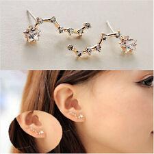 Cute Elegant Women Star Gold Plated Crystal Earrings Ear Clip Stud Gift TR6