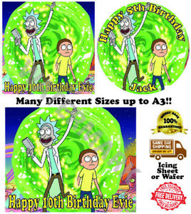Rick and Morty Edible Wafer Icing Cake Topper Costco Any Size upto A3