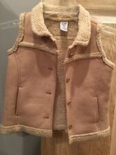 Girl's Baby Gap Vest, Size 2, Sleeveless, Beige, Wool-like Look, Buttons
