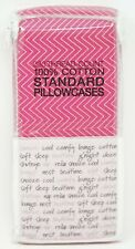Grace Homes Fashions 100% Cotton 2-Pack Narrow Chevron Pillowcases Standard Pink