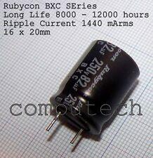Rubycon BXC low impedance 82uF 250V 105°C 8000-12000 hours 16x20mm 1 pezzo