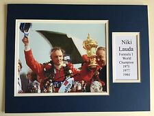 "Formula 1 Niki Lauda Signed 16"" X 12"" Double Mounted Display"