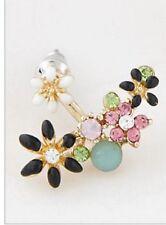 Flower crystal ear jacket earrings