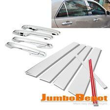 Chrome Door Handle + Pillar Post Cover Trim Set Fit for 03-07 Honda Accord Sedan