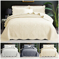 Cotton Bedding Set Quilted Bedspread Throw With Pillow Shams Single Double King