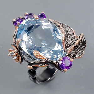 Jewelry Handmade Blue Topaz Ring Silver 925 Sterling  Size 8 /R177977