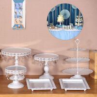 6PCS Set White Cake Cupcake Stand Display Dessert Holder Wedding Party Crystal