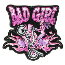 Embroidered Bad Girl Bike Wheeley Sew or Iron on Patch Biker Patch