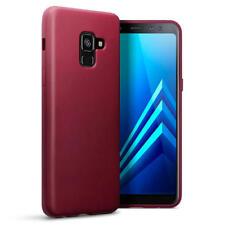 Slim Rubber Bumper Gel Case Cover for Samsung Galaxy A8 2018 - Matte Red