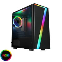 CiT Seven Gaming Micro ATX PC Case Rainbow RGB LED Fan Acrylic Glass Window mATX