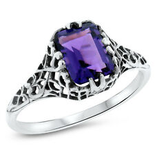 DARK PURPLE LAB AMETHYST 925 STERLING SILVER ANTIQUE STYLE RING SZ 5.75,#722
