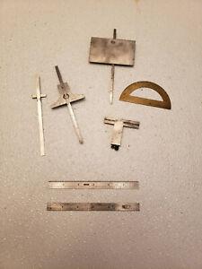 7 Vintage Machinist Tools - LS Starrett, General, Lufkin, Brown & Sharpe