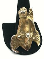 1989 YUNQUE Bronze Winged Cherub Pin Brooch