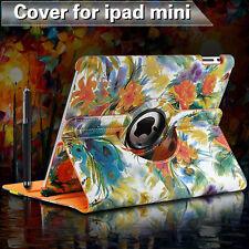 iPad Mini 1 2 Cover Case 360°Rotate Smart Skin Flip Case Painting Art Flower