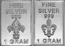 USA 1gr .999 Fine Silver Art Bar French Symbol 'Fleur de Lys'  - UNCIRCULATED